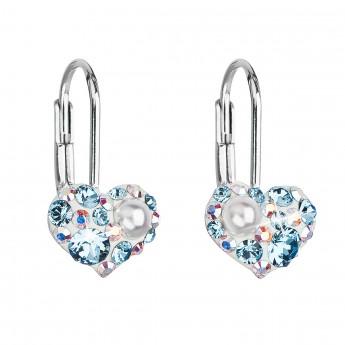 Stříbrné náušnice visací s krystaly Swarovski modré srdce 31125.9 ... a85cf2ef99e