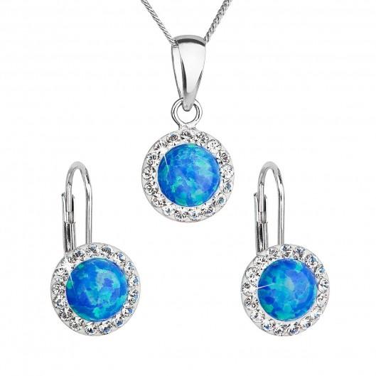 Sada šperků se syntetickým opálem a krystaly Swarovski náušnice a přívěšek  modré kulaté 39160.1 62168c95365