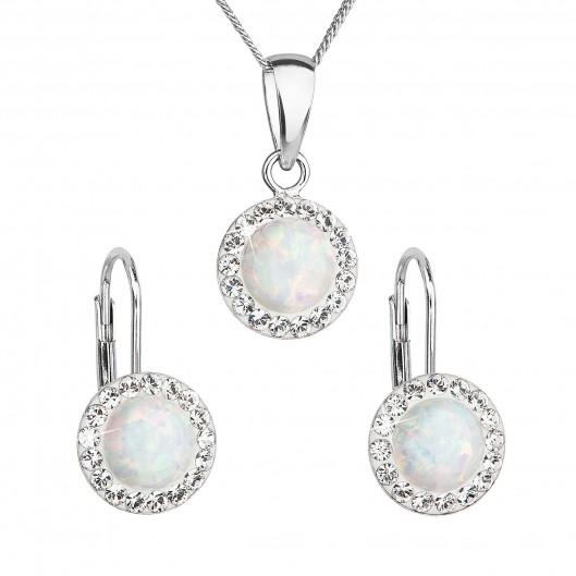 Sada šperků se syntetickým opálem a krystaly Swarovski náušnice a přívěšek  bílé kulaté 39160.1 010077f16b0