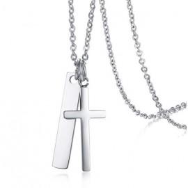 Náhrdelník chirurgická ocel destička a křížek