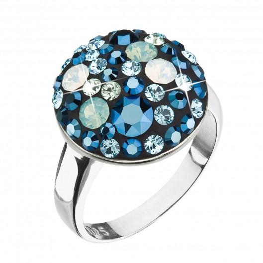 Stříbrný prsten s krystaly Swarovski modrý 35034.4