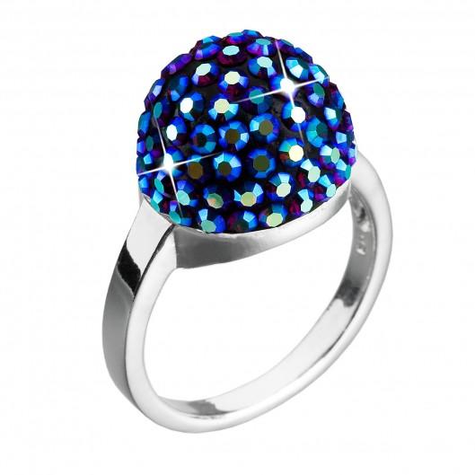Stříbrný prsten s krystaly modrý 35013.5