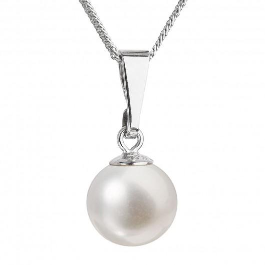 Perlový náhrdelník s řetízkem z pravých říčních perel bílý 22008.1