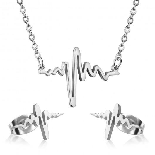 Souprava šperků z chirurgické oceli tlukot srdce