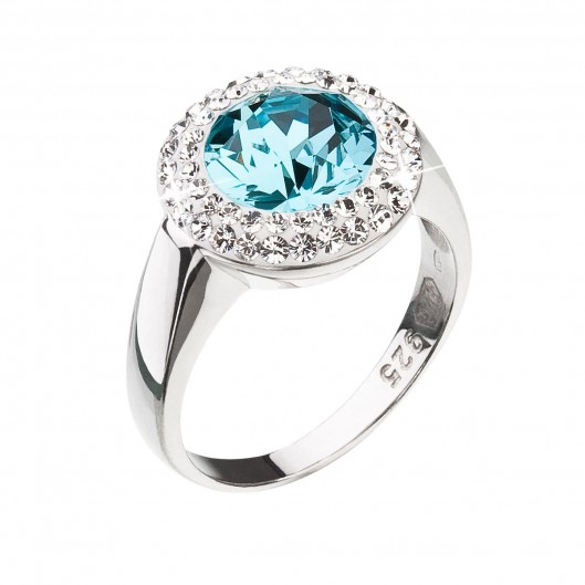 Stříbrný prsten s krystaly Swarovski modrý kulatý 35026.3