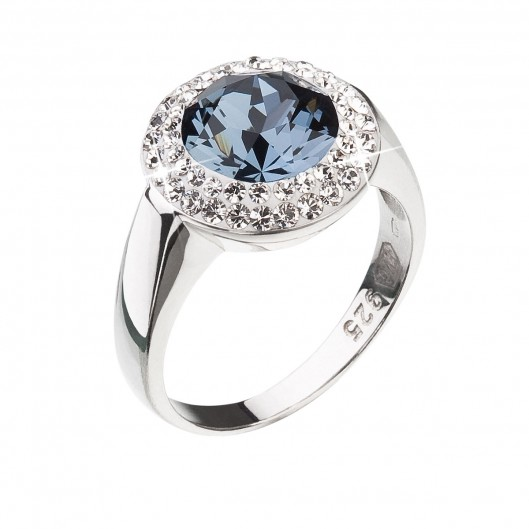 Stříbrný prsten s krystaly Swarovski tmavě modrý kulatý 35026.3