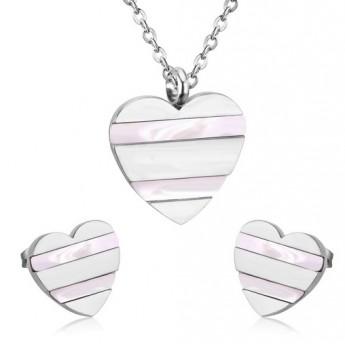 Souprava šperků z chirurgické oceli srdce s perletí