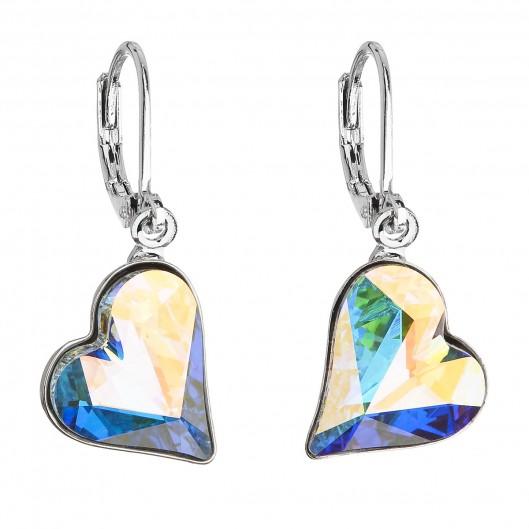 60c871853 Náušnice bižuterie se Swarovski krystaly AB efekt srdce 51054.2