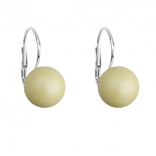 Stříbrné náušnice visací s perlou Swarovski žluté kulaté 31143.3