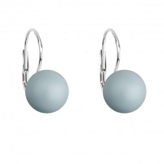 Stříbrné náušnice visací s perlou Swarovski modré kulaté 31143.3