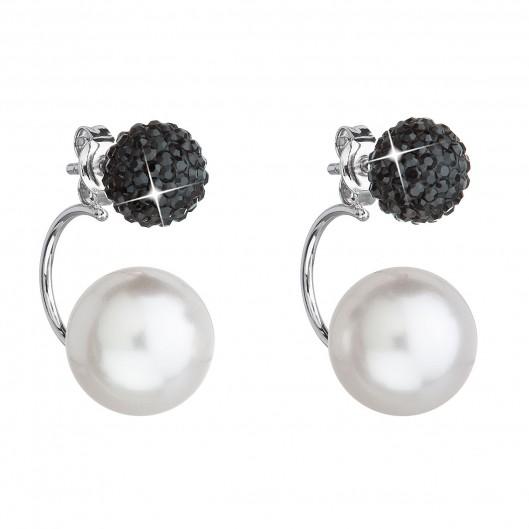 Stříbrné náušnice dvojité s krystaly Swarovski černé kulaté 31179.3