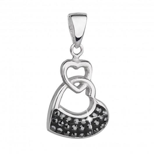 Stříbrný přívěsek s krystaly Swarovski černé srdce 34190.5