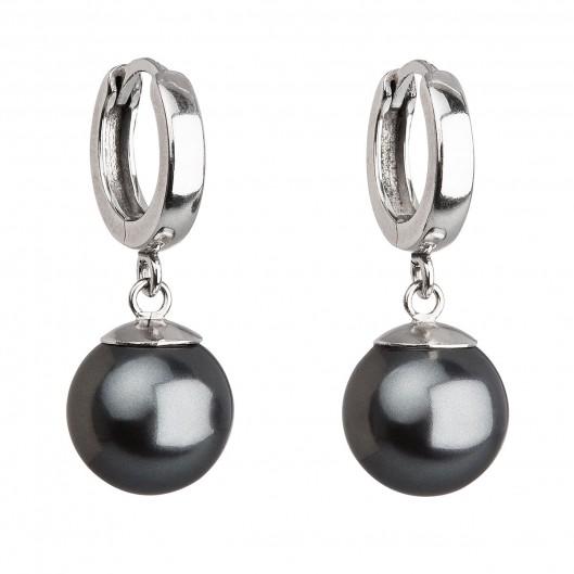 Stříbrné náušnice visací s perlou Swarovski šedé kulaté 31151.3