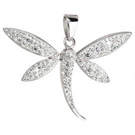 Stříbrný přívěsek s krystaly Swarovski bílá vážka 34164.1