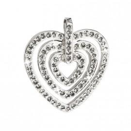 Stříbrný přívěsek s krystaly Swarovski bílé srdce 34152.1
