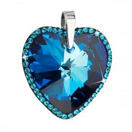 Stříbrný přívěsek s krystaly Swarovski modré srdce 34138.5