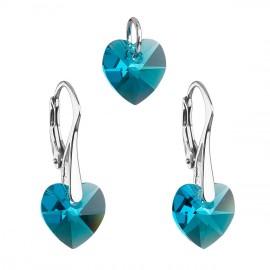 Sada šperků s krystaly Swarovski náušnice a přívěsek modrá srdce 39003.4