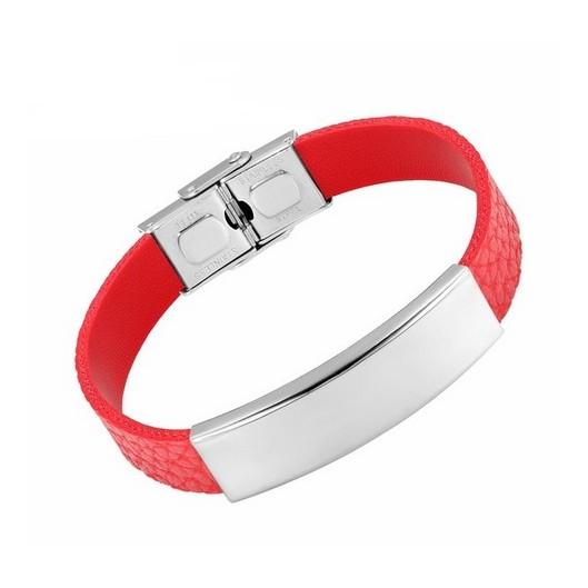 Kožený náramek červený s ocelovou destičkou