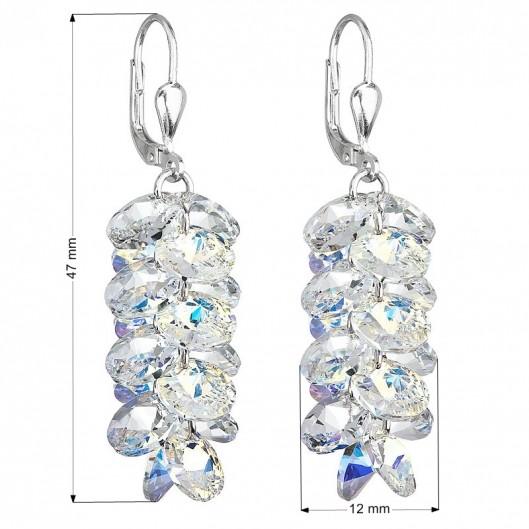Stříbrné visací náušnice hrozny s krystaly Crystals from Swarovski®, AB
