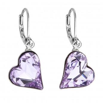 Náušnice bižuterie se Swarovski krystaly fialová srdce 51054.3