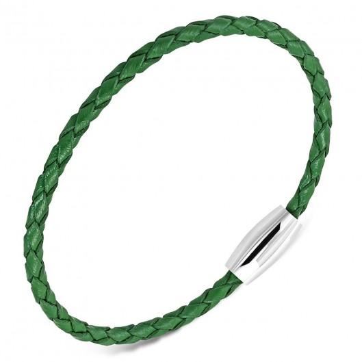 Zelený kožený splétaný náramek