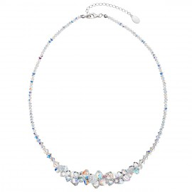 Stříbrný náhrdelník s krystaly Swarovski AB efekt hrozen 32028.2