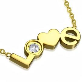 Zlacený ocelový řetízek s textem LOVE