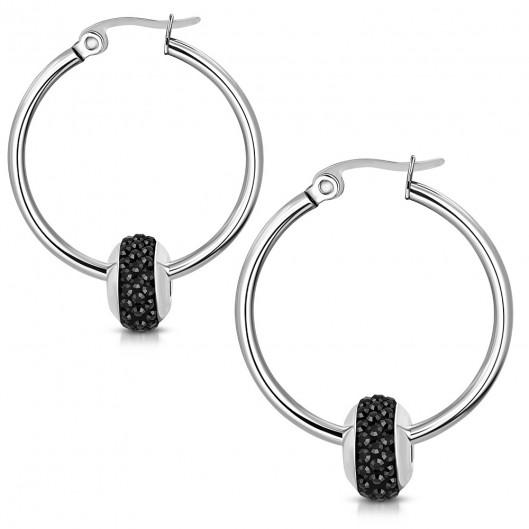 Náušnice kruhy s korálkem, černé kamínky