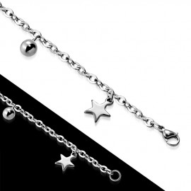 Ocelový náramek se hvězdičkami a kuličkami