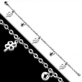 Ocelový náramek se čtyřlístky a kuličkami