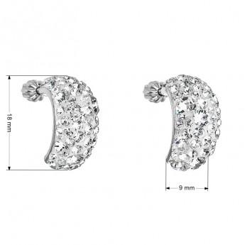 Stříbrné šroubovací náušnice s krystaly Crystals from Swarovski®, Crystal