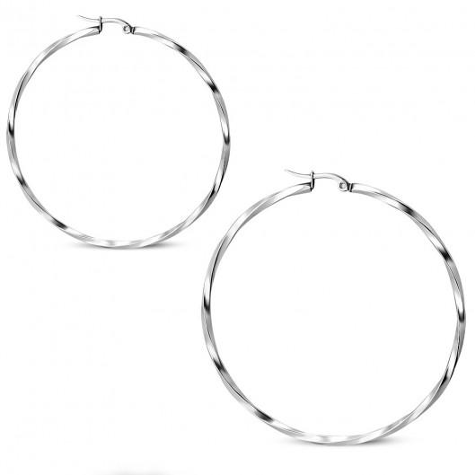 Ocelové náušnice - kruhy kroucené 61 mm