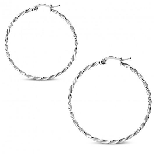 Ocelové náušnice - kruhy kroucené 42 mm