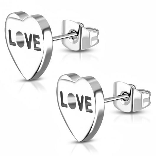 Ocelové náušnice - srdíčka LOVE
