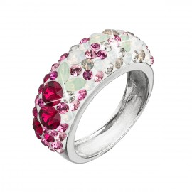 Stříbrný prsten s krystaly Swarovski mix barev červená 35031.3