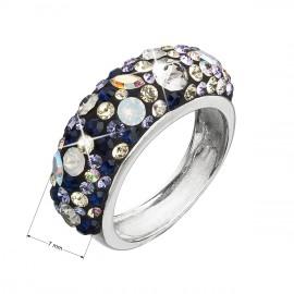 Stříbrný prsten s krystaly Swarovski mix barev fialová 35031.3