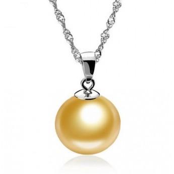 Stříbrný náhrdelník s kuličkou krémovou