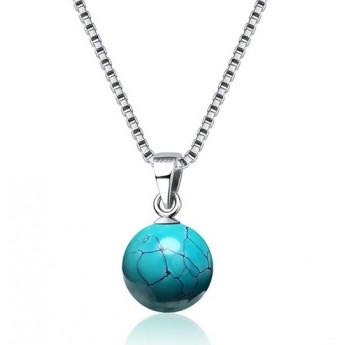 Stříbrný náhrdelník s kuličkou z tyrkysu
