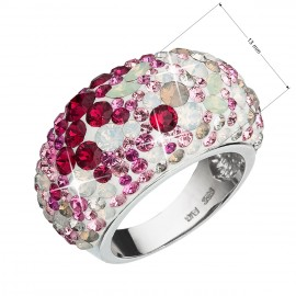 Stříbrný prsten s krystaly Swarovski mix barev červená 35028.3