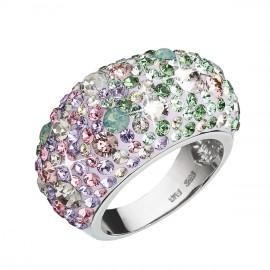 Stříbrný prsten s krystaly Swarovski mix barev fialová růžová zelená 35028.3