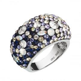 Stříbrný prsten s krystaly Swarovski mix barev fialová 35028.3