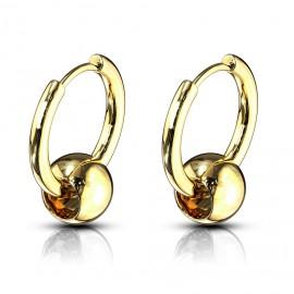 Zlaté ocelové náušnice - kroužky s kuličkou