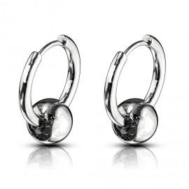 Ocelové náušnice - kroužky s kuličkou