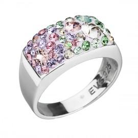 Stříbrný prsten s krystaly Swarovski mix barev fialová zelená růžová 35014.3
