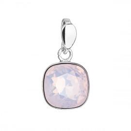 Stříbrný přívěšek čtverec s kamenem Crystals from Swarovski® Rose Water Opal
