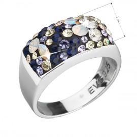 Stříbrný prsten s krystaly Swarovski mix barev fialová 35014.3