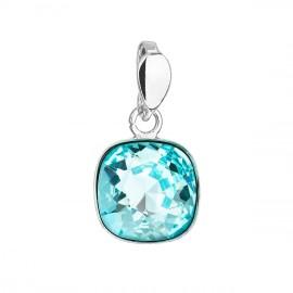Stříbrný přívěšek čtverec s kamenem Crystals from Swarovski® Light Turquoise