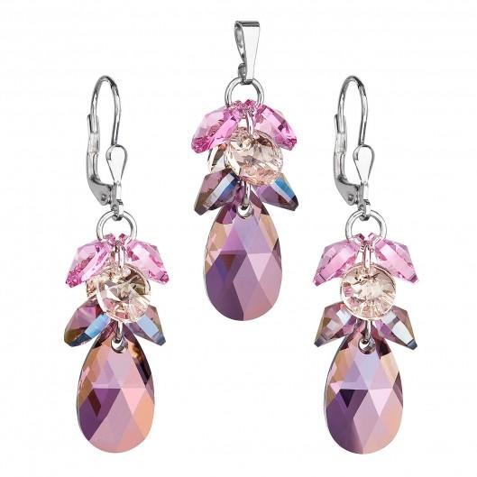 Sada náušnic a přívěšku hrozen Crystals from Swarovski® Lilac Shadow