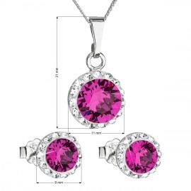 Sada šperků s krystaly Swarovski náušnice a přívěsek růžové kulaté 39152.3 fuchsia