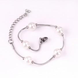 Dámský ocelový náramek s perličkami